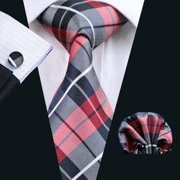 Red Black Classic Plaid Tie Hankerchief Cufflinks Set Jacquard Woven Mens Tie Set Business Work Formal Meeting Leisure N-0342