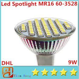 DHL LED Spotlight Bulb MR16 9W 60 SMD 3528 LED High Power Light White Warm white Ceiling Saving Lamp 3 Years Warranty