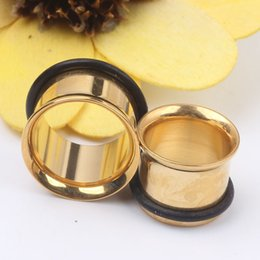 mix 3~14mm 100pcs lot Gold pattern ear plugs tunnel body piercing jewelry flesh tunnel
