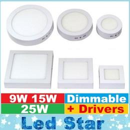 Поверхность панели Онлайн-AC85-265V 9W 15W 25W Накладные светодиодные светильники регулируемой яркостью Светодиодная панель SMD2835 Ультра тонкий круг потолка вниз лампа кухня ванная комната
