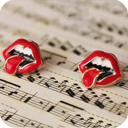 OMH wholesale 12pair OFF 45%= $0.4 pair EH09 flaming lips sexy red lips big tongue stud earring female 3g