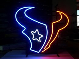 Wholesale NEW HOUSTON FOOTBALL NEON SIGN TEXANS BEER BAR PUB REAL GLASS TUBE LIGHT SIGNS store display