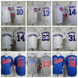 Wholesale 2016 New Chicago Cubs Throwback Baseball Jerseys Ron Santo Ernie Banks Ryne Sandberg Starlin Castro Greg Maddux Jersey