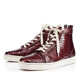 Wholesale 2016 New arrival Snake pattern Python Red Bottom Shoes Men Women High Top Red Sole casual shoes Purple black brown Beige white