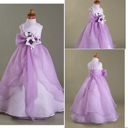 Most Cheap A Line Jewel Ankle Length Lilac Organza Real Sample Flower Girls Dress For Wedding Long Pageant Prom Party Gowns