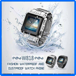 Wholesale Unlocked W818 Waterproof Smart Watch Phone Stainless steel Mobile with Java Spy Camera Bluetooth Earphone MP3 MP4 Vedio E book FM Radio
