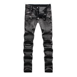 Wholesale new designer straight jeans for men Stylish Fashion Stretch Slim Acid Black Washed Mens jeans balmain biker jeans Plus Size