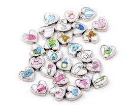 Wholesale 20Pcs DIY Alloy Charm Mixed Baby Clothes Feet Baby Carriage Heart Floating Charms For Memory Glass Locket