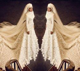 2015 Arabic Muslim Wedding Dresses Long Sleeves Chapel Train Lace Bridal Gowns Zipper Back Bridal Gowns Wedding Party Dress