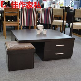 Wholesale Square coffee table modern minimalist fashion creative wooden drawer tea table size new apartment Side