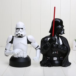 Wholesale 21cm Star Wars Stormtrooper Darth Vader Piggy Bank PVC Action Figure Dolls Collectible Model Toy Coin Box in opp bag