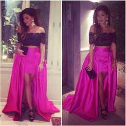 Latest 2015 Sexy Fuchsia Two Pieces Prom Cocktail with Detachable Skirt Off Shoulder Black Lace Short Sleeves Evening Dress Party Gowns