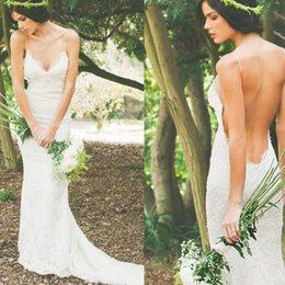 2016 Sexy Beach Backless Wedding Dresses Mermaid Spaghetti Strap Lace Wedding Dress Court Train Boho Wedding Gown Plus Size Bridal Gowns
