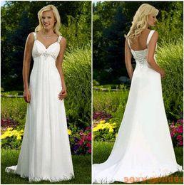 Stock cheap Sexy Beach Wedding Dresses Spaghetti beaded Chiffon Empire long Bohemian country style Bridal Gowns