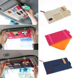 Wholesale Multifunctional Sun Visor Storage Bag Car Notes Pouch CD Receive Bag DVD Disk Card Visor Case Holder Clipper Bag