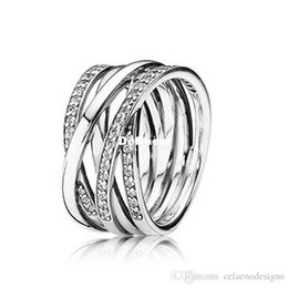 Wholesale 100 Sterling Silver Rings With Cubic Zircon Pandora Fahion Rings Fits For Valentines Day European Style Jewelry CE448
