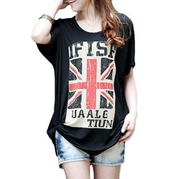 2016 New Female T-shirt Loose Short sleeve T-shirts for Women Long Shirt British Flag printed camisetas y Tops Tee Black White