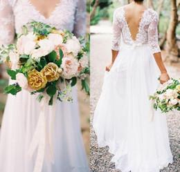 Lace Chiffon Bridal Dresses Boho 2019 Bohemian V-neck 3 4 Long Sleeves Low Back A-line Wedding Dresses With Pleats Cheap Plus Size