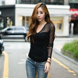 2015 Newly Fashion Women Ladies Black Tops Long Sleeve V Neck T-Shirt Slim Fit Mesh T Shirt Casual Ladies Cotton Tops