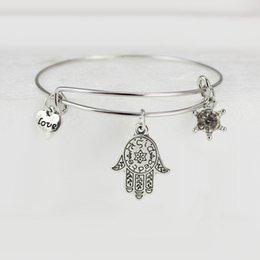 Wholesale Alex Ani Jewelry Bracelets Bangles Fashion Alloy plating Silver LOVE palm Pendant Bracelet Hexagonal diamond Crystal Rims bracelets Gifts