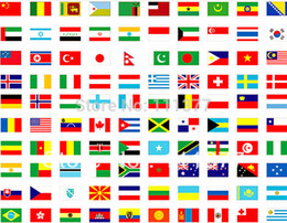 Wholesale complete set of whole world countries or regions polyester fabric National flags with pole size cm
