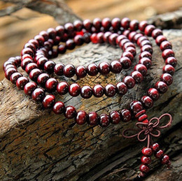 108*6mm Genuine Red Sandalwood Beads Buddha Malas Bracelet Healthy Jewelry Man Wrist Mala Bracelets Long Bangle Religion Gift Free Shipping