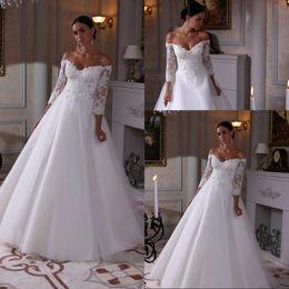Plus Size lace Wedding Dresses Spring Summer 2016 Garden Bridal Gowns Vintage Sheer V Neck 3 4 Lace Sleeve Appluque Floor Length