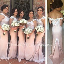 New Fashion Mermaid Cheap Bridesmaid Dresses Cap Sleeve Off The Shoulder Long Bridesmaid Dress Taffeta Lace Appliques Plus Size Dress