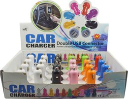 Wholesale 2 A dual mini usb car charger with display box charge for ipad iphone samsung tablet pc mp3 mp4