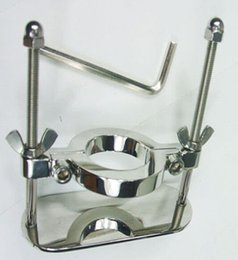 Stainless steel Ball Stretcher Adjustable Ball Cuff Crusher Scrotum Fixture Chastity Testicular Torture Bondage Device