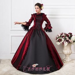 luxury wine red black gothic ball gown medieval dress renaissance Gown queen Dress Victorian Marie Antoinette Colonial Belle Ball
