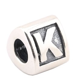 Sterling Silver Charms 925 Ale Letter K European Charms for Pandora Bracelets DIY Beads Accessories High Quality