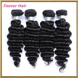 Faover hair products 8-28 inches deep wave brazilian virgin hair weft extension natural color deep curly human hair weave Free shipping
