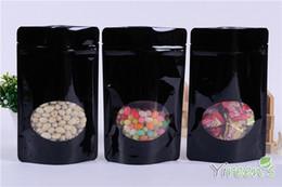 Hot wholesale 10pcs 13x21cm Black color Aluminum Foil Bag with Window, Stand up Ziplock Food Bags, TEA NUT COFFEE BEAN PACKING BAGS