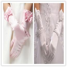 Pearl Bow Beads Flower Ribbon Butterfly Silk Children Girls Wedding Dresses Gloves Kids Formal Full Dress Figer Gloves Mittens D4862