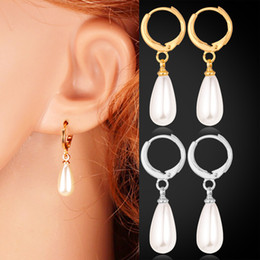 U7 Pearl Jewelry Beads Clip Platinum 18K Real Gold Plated Water Drop Earrings High Quality Fashion Jewelry For Women Lots E1286