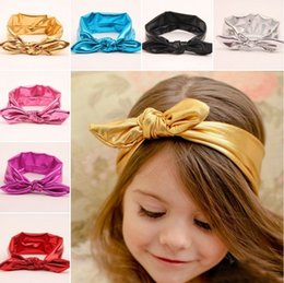 Wholesale 20 NEW Cute Baby Girls Toddler Stretch Ear Turban Knot Hairband Rabbit Bow Headband GOLDED Leather style Headwrap