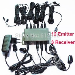 Wholesale 12 Emitter Receiver adapter IR Infrared Remote TV AV Video Home Application Extender Hidden IR Repeater System Kit