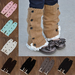 Wholesale Warmers Legging lace foot socks Cotton with buttons baby feet set Cotton short legs boot cuffs girls chlidern sock best