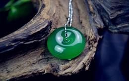 Natural light green chalcedony charm pendant hand-carved charm good luck ping buckle round and round pendant necklace