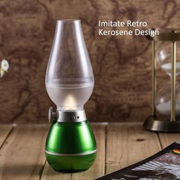 Wholesale Retro LED Night Light Dimmable Blowing Controlled USB Rechargeable Cordless Wireless LED Nigh Light Candle Lamp Imitate Kerosene Oil Lamp