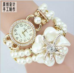 Montres de gros perle en Ligne-Vente en gros perle dames / filles de luxe rhinestone envelopper bracelet quartz montres-bracelets montres femmes relogio féminino 2014 montre femme