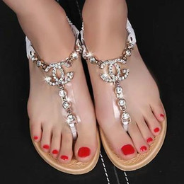 Wholesale summer styles women sandals female channel rhinestone comfortable flats flip gladiator sandals party wedding shoes