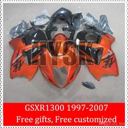 Pour Suzuki GSXR1300 97 98 99 00 01 02 03 04 05 06 07 GSXR 1300 GSX-R1300 Hayabusa Noir brillant Noir Moto Carénage Kits OEM à partir de 98 gsxr carénage orange noir fournisseurs