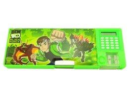 Wholesale 40pcs Ben sharpener pen gift box kids boys cartoon calculator plastic pensil case students articulos escolares
