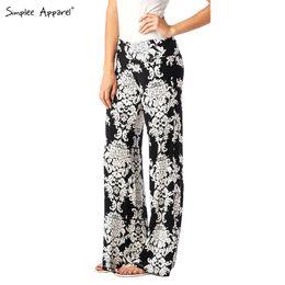 Wholesale FG1509 Simplee Apparel White ethnic print exuma black baggy pants Palazzo boho wide leg elastic women casual pants flare Chic trousers