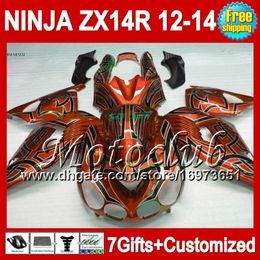 7gifts For KAWASAKI Orange black NINJA ZX-14R ZX14R 2012 2013 2012 2013 ZX 14 R 25C93 ZX 14R 12-13 12 13 12 Orange black 13 ZX14 R Fairing