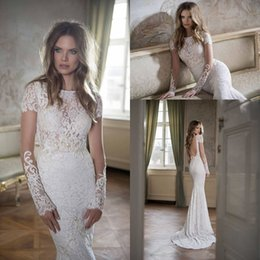 2018 Vintage Full Lace Mermaid Trumpet Wedding Dresses Berta Long Sleeve with Pearls Court Train Backless Graceful Bridal Gowns BA0259