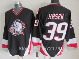 Factory Outlet, HIGH QUALITY 2015 CHEAP AUTHENTIC MENS 1999 VINTAGE BUFFALO SABRES #39 DOMINIK HASEK BLACK RED THROWBACK ICE HOCKEY JERSEY