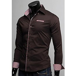 Mens Check Long Sleeve Shirts with Color edge Multicolor and Many Size Shirts